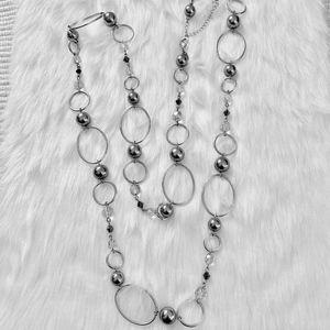 Lia Sophia Longer Necklace Silver Gray